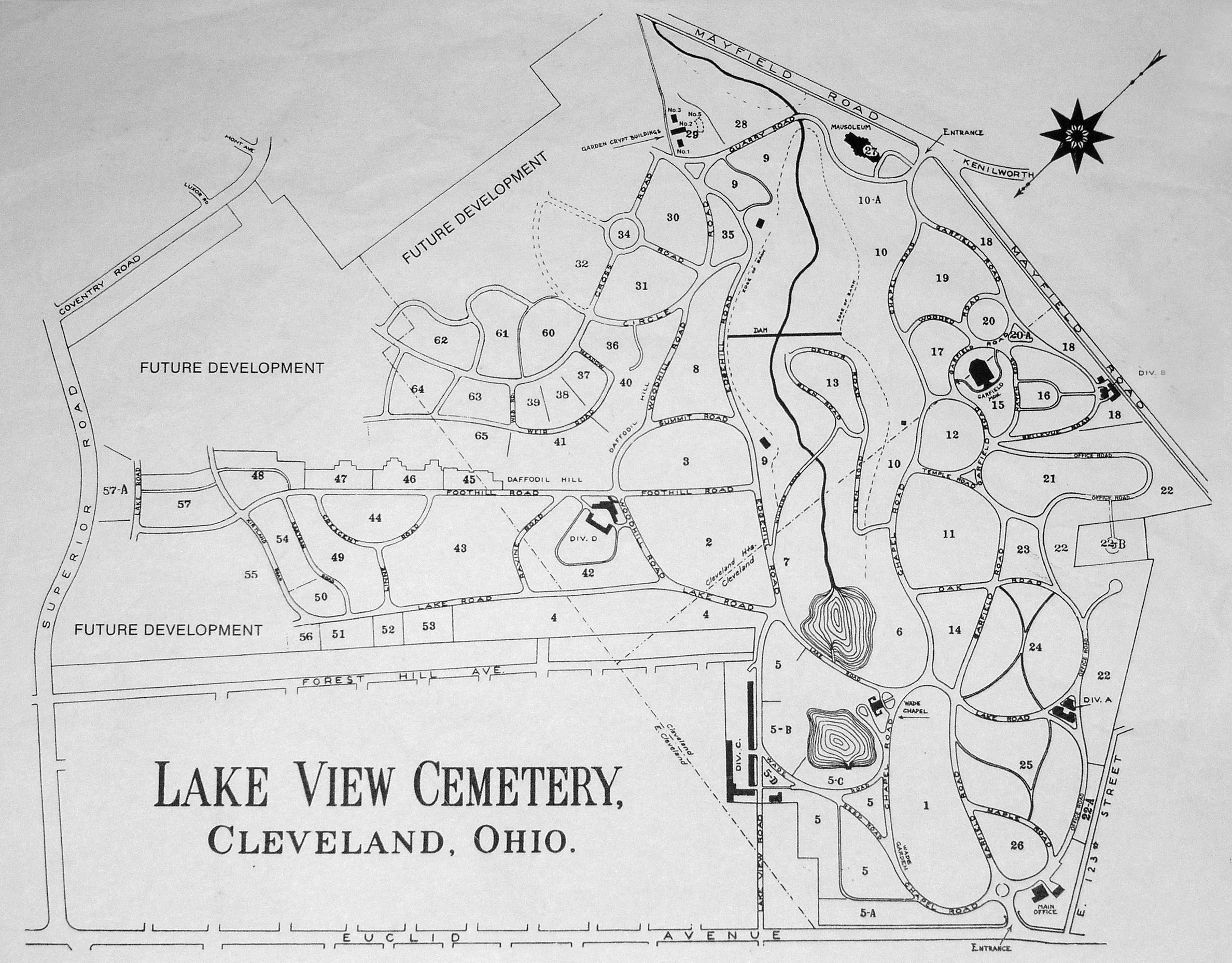 Lakeview Cemetery Map Lake View Cemetery in Cleveland, Ohio   Find A Grave Cemetery Lakeview Cemetery Map