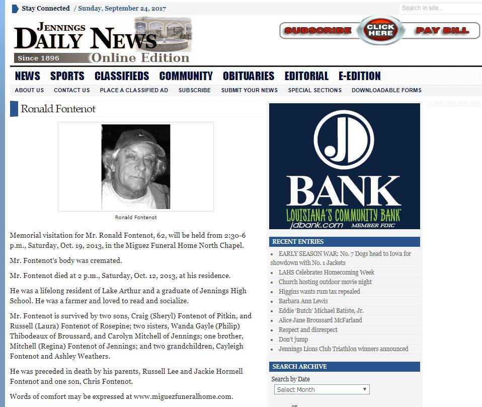 Ronald Joseph Fontenot (1951-2013) - Find A Grave Memorial