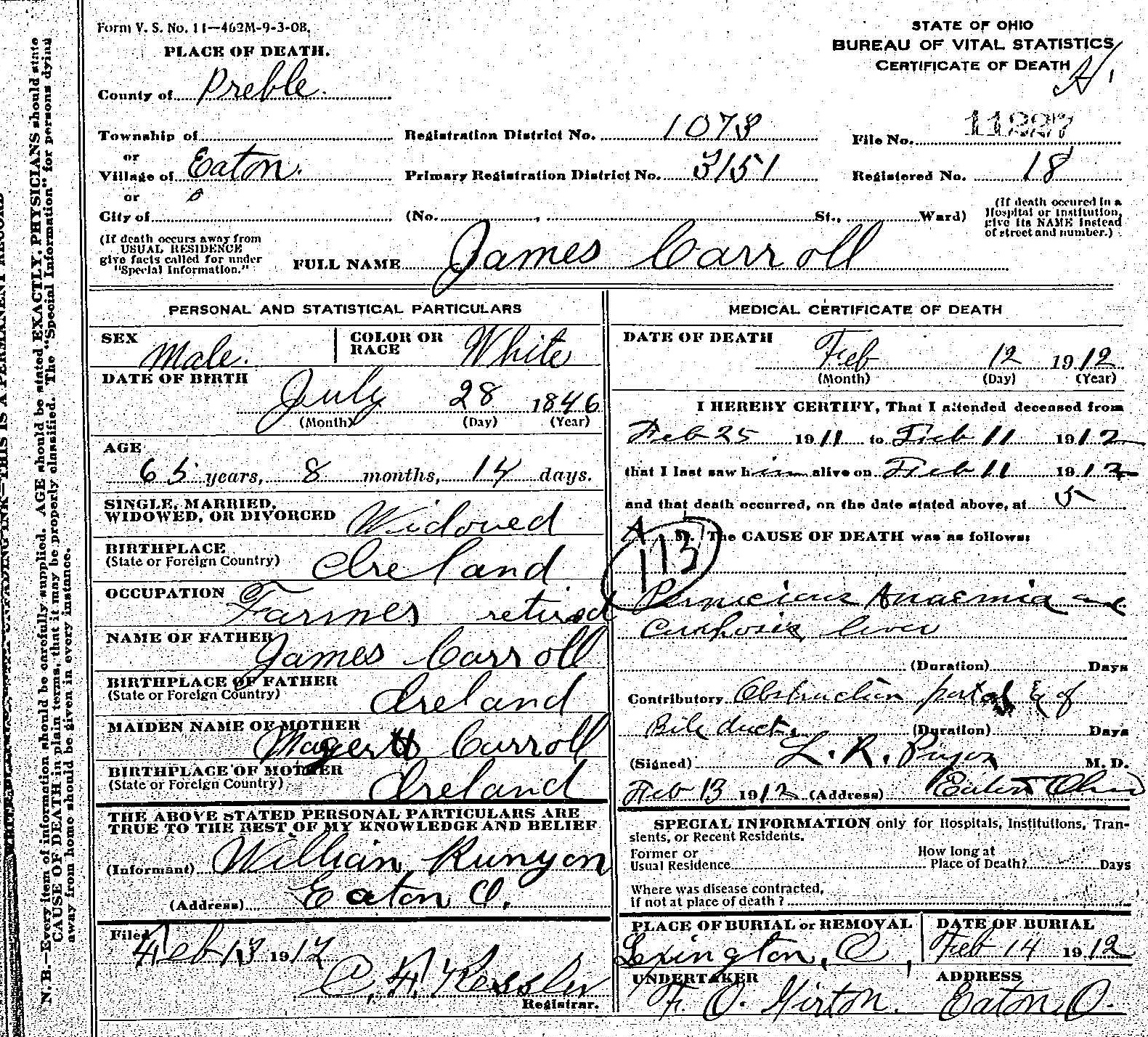 James carroll 1846 1912 find a grave memorial death certificate of james carroll showing he was born in ireland occupation birthdeath dates places etc from familysearch public records xflitez Choice Image