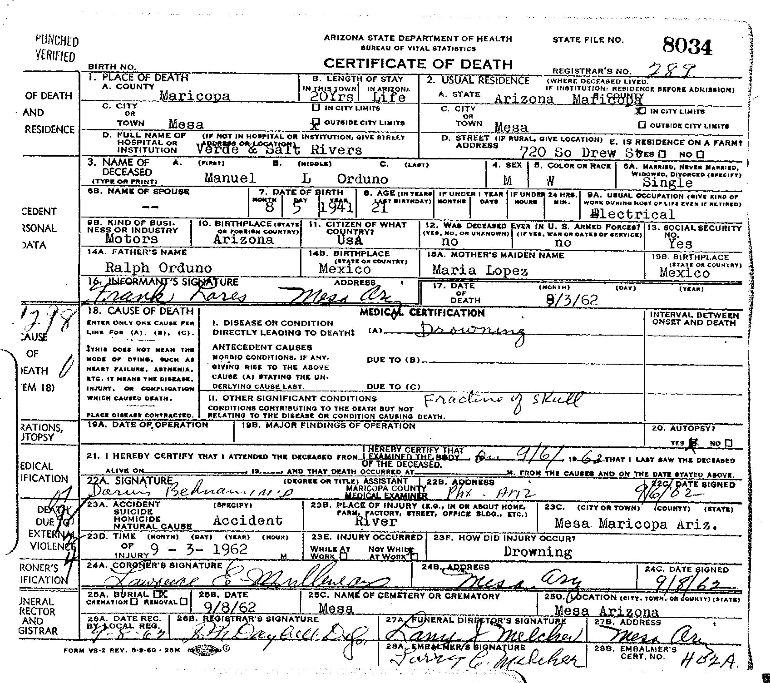 Manuel l orduno 1941 1962 find a grave memorial death certificate aiddatafo Gallery