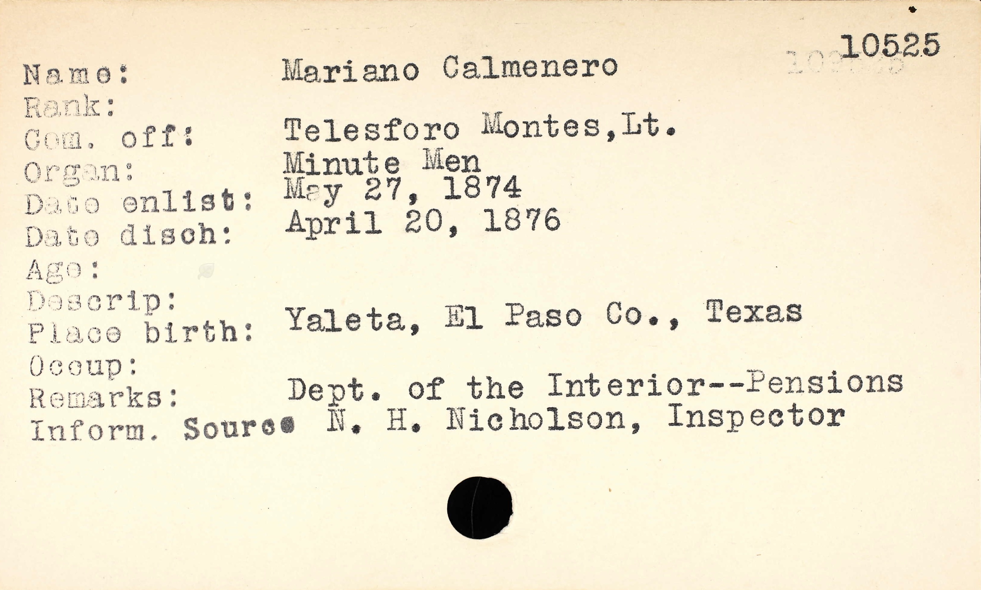 Mariano colmenero 1836 1926 find a grave memorial texas muster roll index cards 1838 1900 name mariano calmenero birth place yaleta el paso texas enlistment date 27 may 1874 record type ranger rolls aiddatafo Gallery