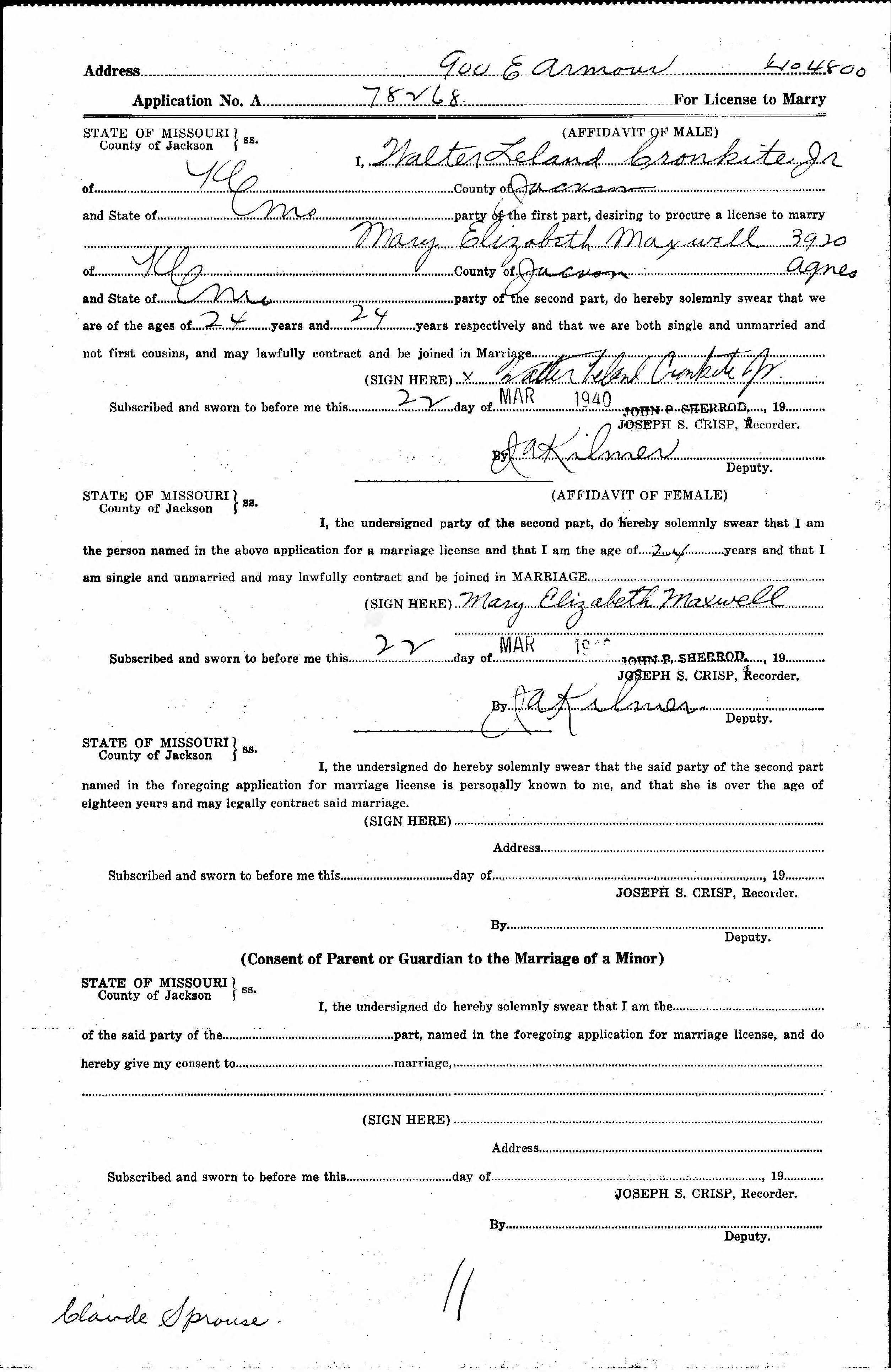 Mary elizabeth betsy maxwell cronkite 1916 2005 find a grave the application for a marriage license filed by mary elizabeth maxwell and walter leland cronkite jr on march 22 1940 in kansas city jackson county aiddatafo Choice Image