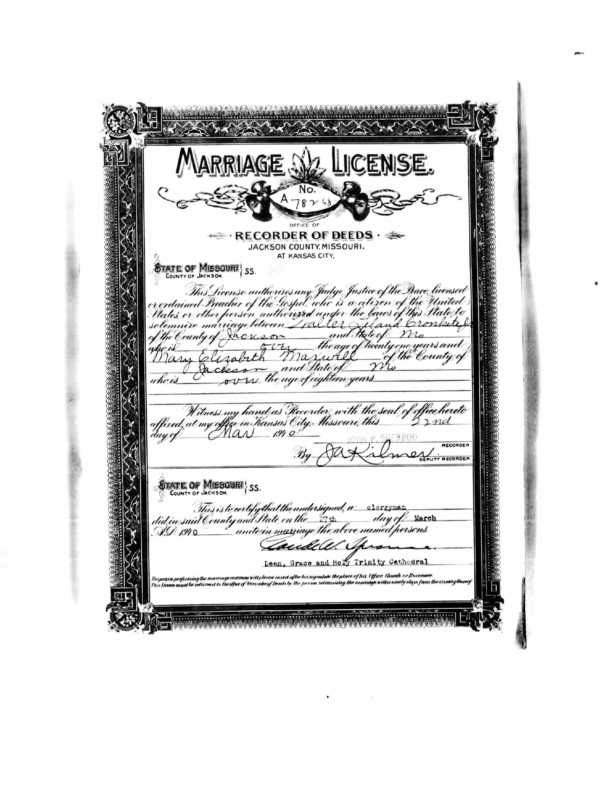 Mary elizabeth betsy maxwell cronkite 1916 2005 find a grave the marriage license and certificate attesting to the marriage of mary and walter l cronkite jr on march 27 1940 in jackson county missouri xflitez Image collections