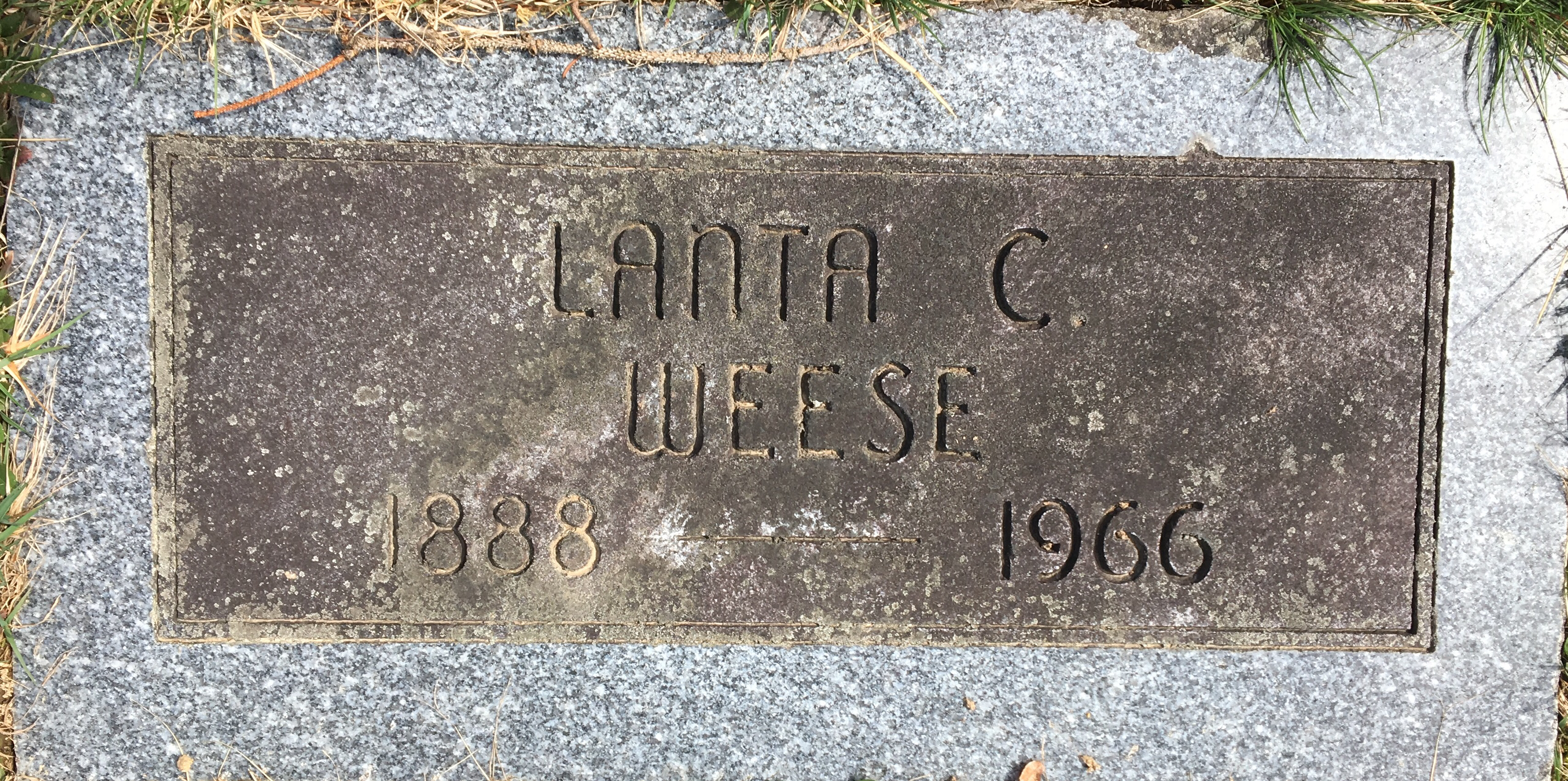 Lanta c. weese 1888 1966 find a grave memorial