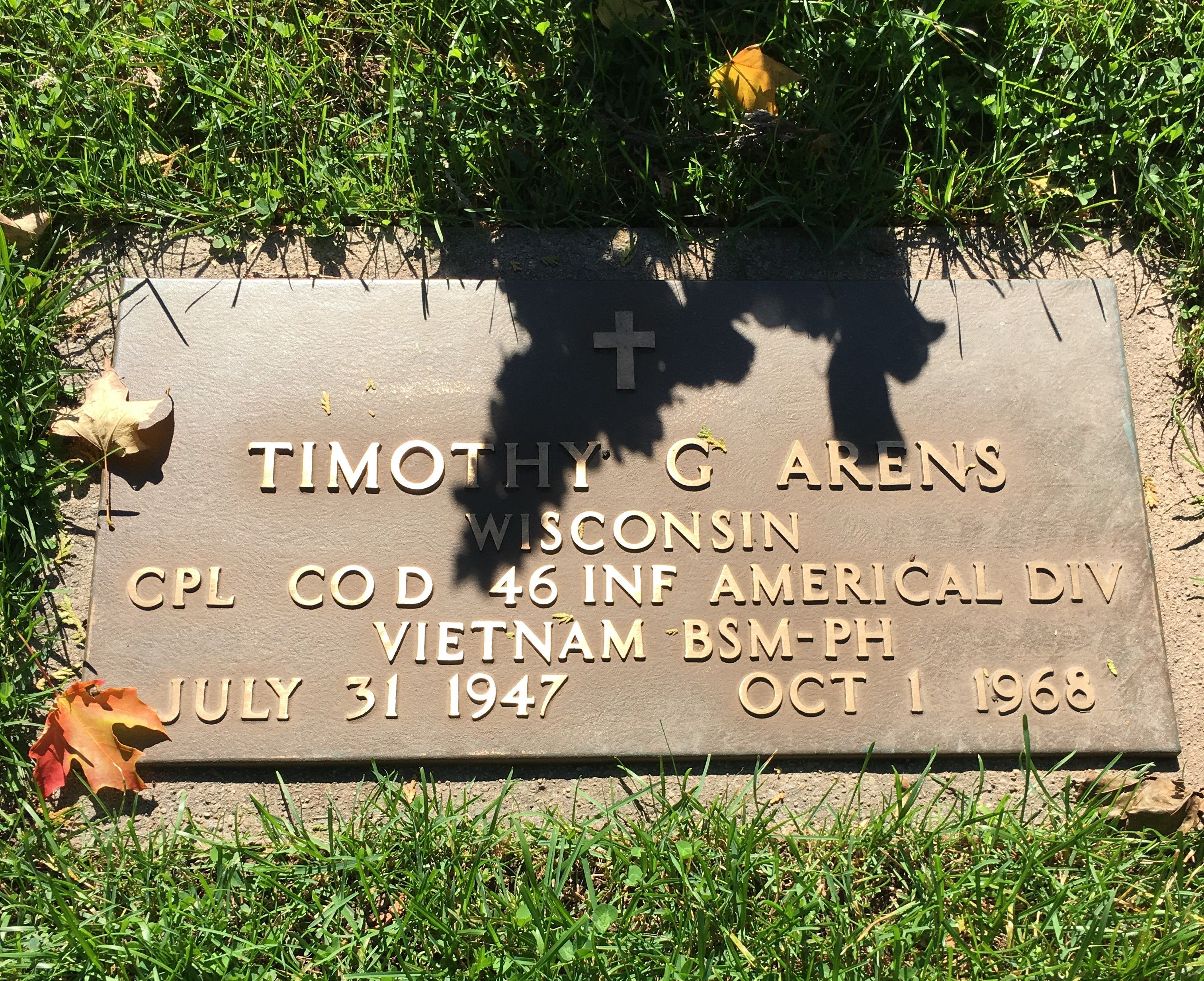 Corp Timothy George Arens (1947-1968) - Find A Grave Memorial