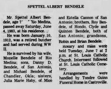 Spettel Albert Bendele (1912-1983) - Find A Grave Memorial