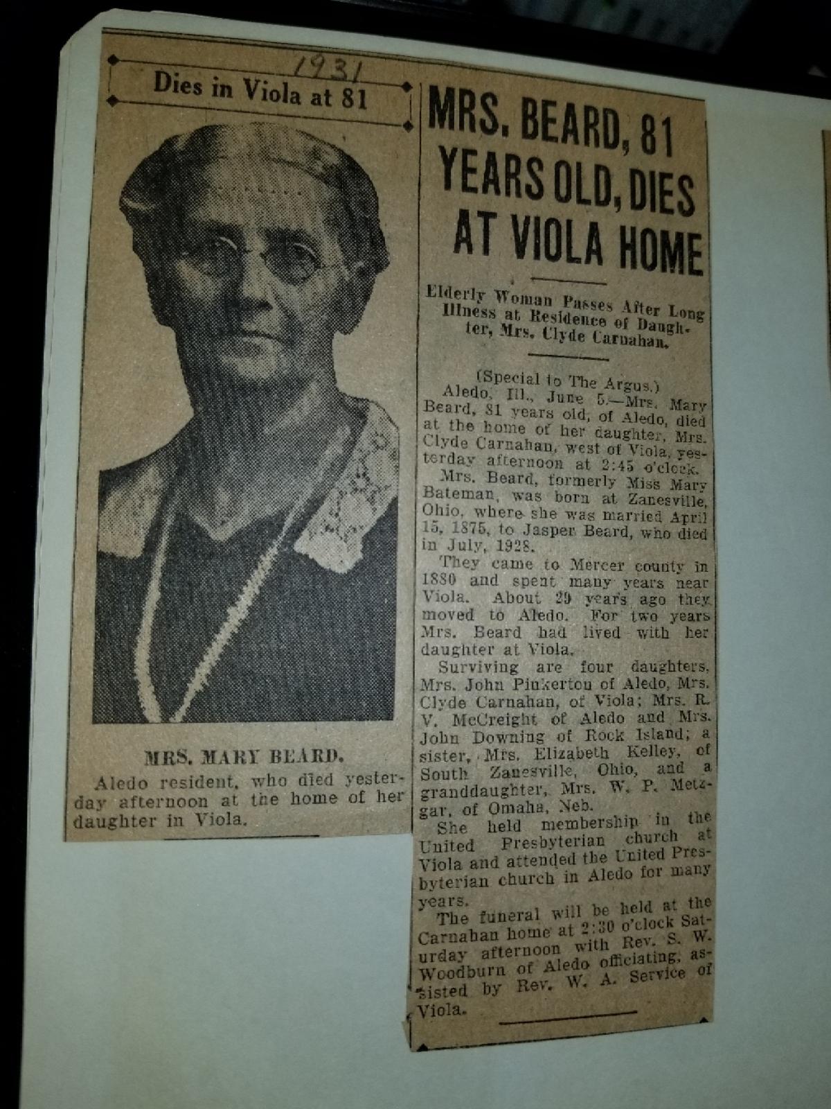 Mary Amelia Bateman Beard (1850-1931) - Find A Grave Memorial
