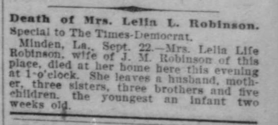 Leila Life Robinson (1874-1906) - Find A Grave Memorial