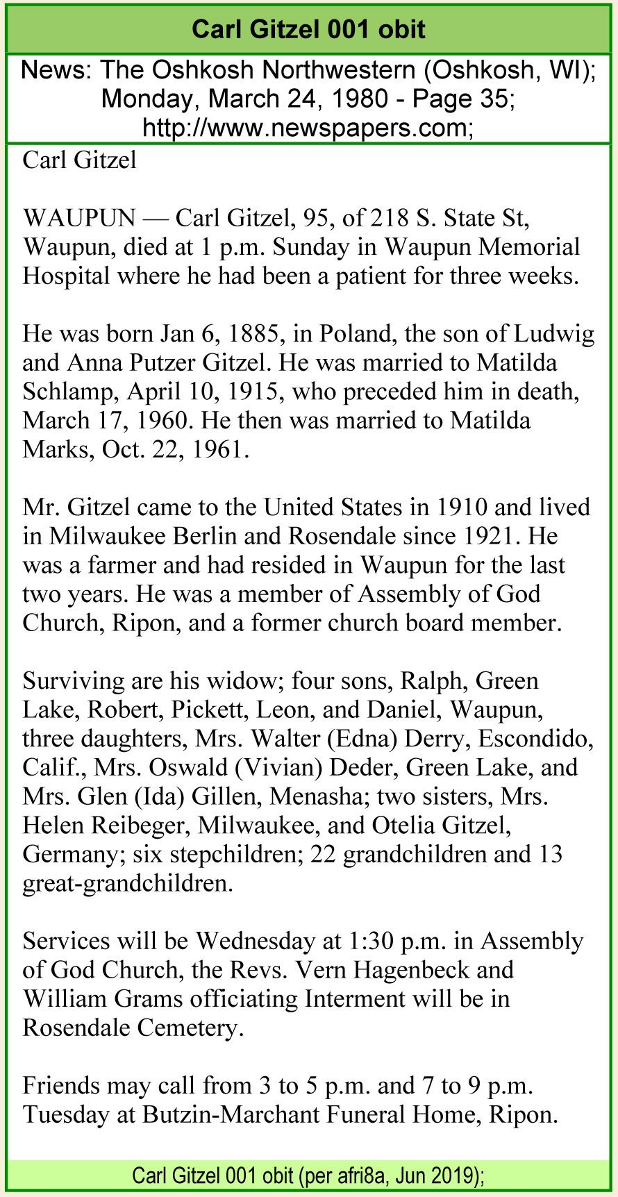Karl Carl Gitzel 1885 1980 Find A Grave Memorial