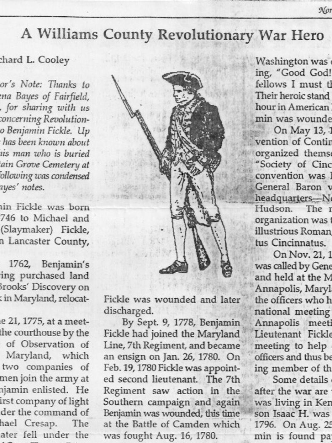 LT Benjamin Fickle (1746-1839) - Find A Grave Memorial