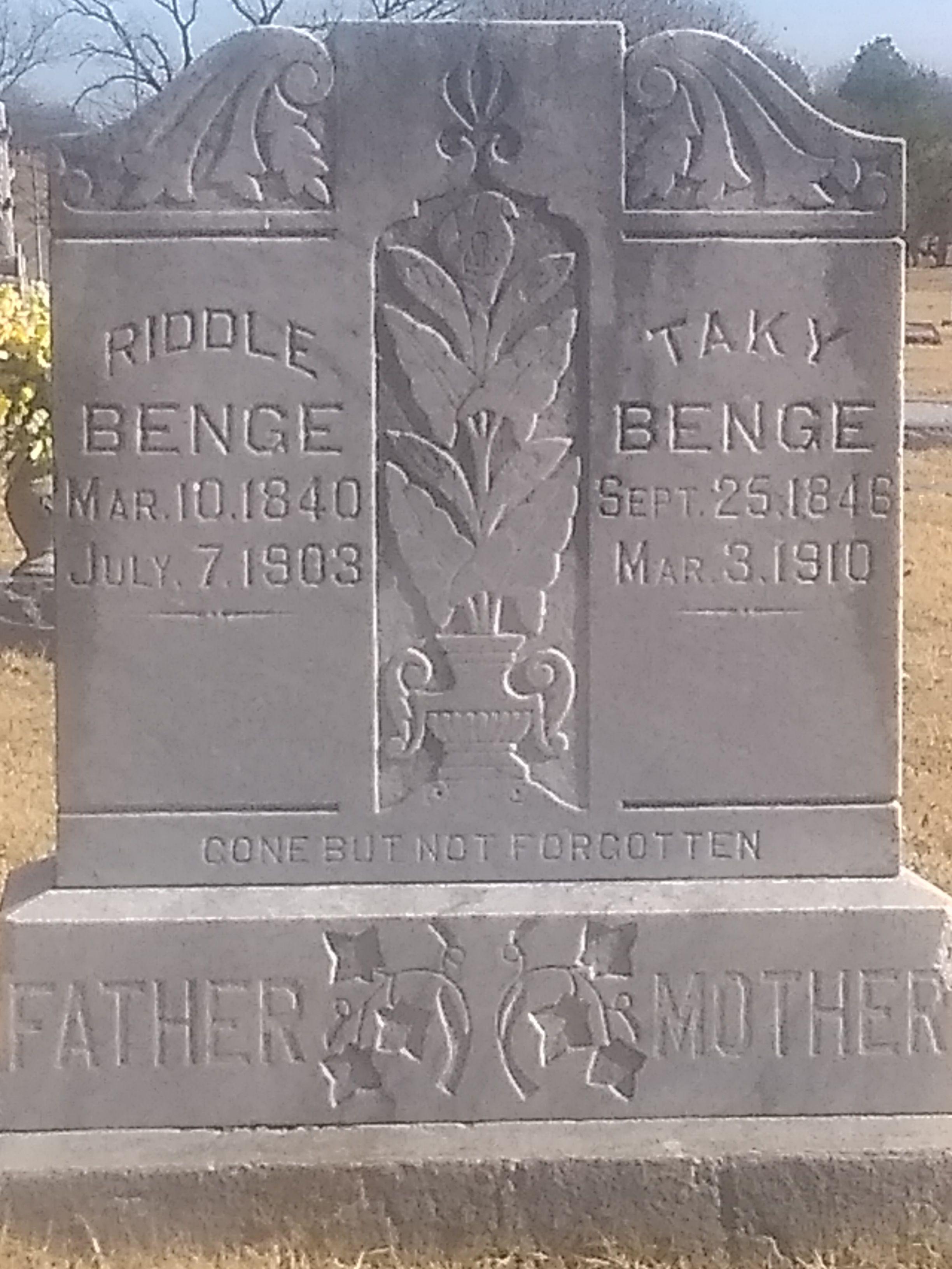 """John """"Riddle"""" Benge (1840-1903) - Find A Grave Memorial"""
