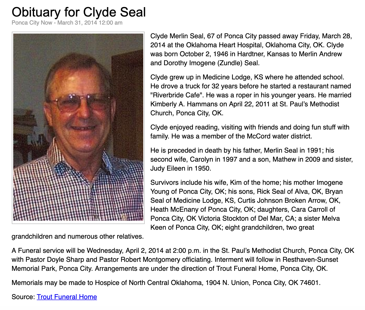 Clyde Merlin Seal (1946-2014) - Find A Grave Memorial