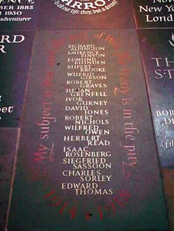 Memorial to the poets of the First World War
