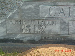 Minnie Lee <I>Halbert</I> Cain