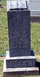 """Martha Salina """"Mattie"""" <I>Shelby</I> Bell"""