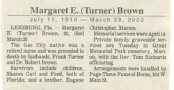 Margaret E <I>Turner</I> Brown
