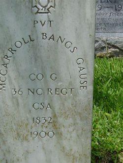 Pvt McCarroll Bangs Gause