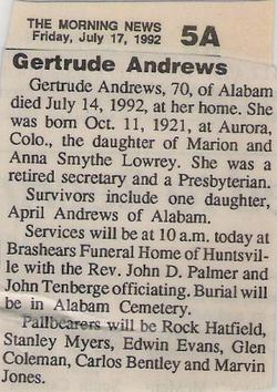 Gertrude <I>Lowrey</I> Andrews