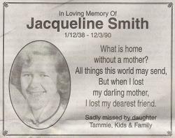 Jacqueline Rae <I>Behr</I> Smith
