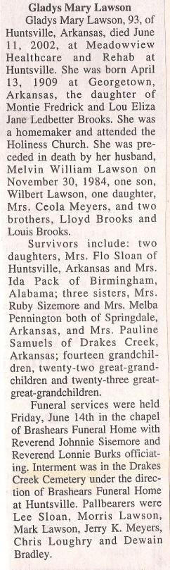 Gladys Mary <I>Brooks</I> Lawson