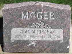 Zema Mae <I>Hindman</I> Mcgee