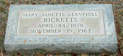 Mary Janette <I>Stanphill</I> Ricketts