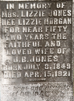 """Sarah Elizabeth """"Lizzie"""" <I>Morgan</I> Jones"""
