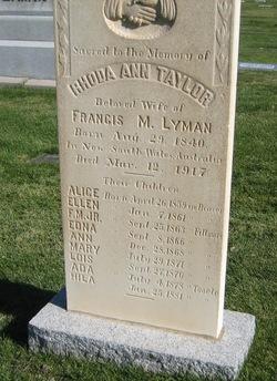 Rhoda Ann <I>Taylor</I> Lyman