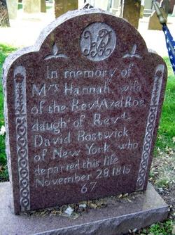 Hannah <I>Bostwick</I> Roe