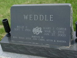 Mary J <I>Cofer</I> Weddle