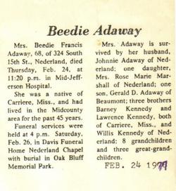 Beedie Francis <I>Kennedy</I> Adaway