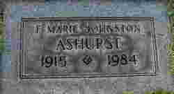 F Marie <I>Johnston</I> Ashurst
