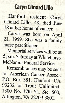 Caryn Amelia Clinard Lillo (1959-2007) - Find A Grave Memorial