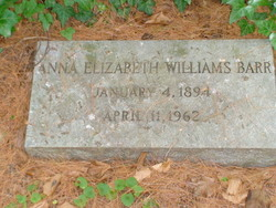 Anna Elizabeth <I>Williams</I> Barr