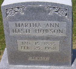 Martha Ann <I>Roberts Haste</I> Howson