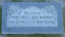 Ruby Orilla <I>Rice</I> Mathews