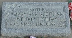Mary Ann <I>Scothern</I> Loveday