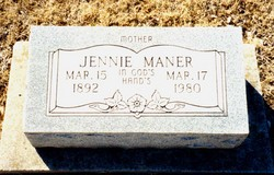 Jennie <I>Bryant</I> Maner