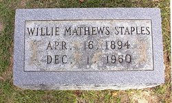 Willie <I>Mathews</I> Staples