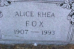 Alice Mae <I>Rhea</I> Fox