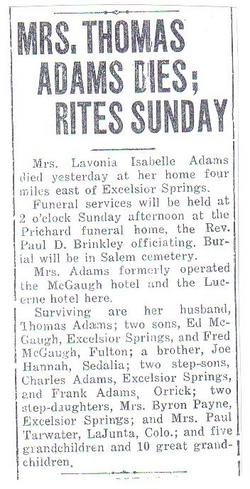 Lavonia Isabel <I>Hannah</I> Adams