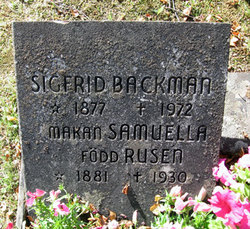 Fredrika Samuela <I>Rusén</I> Backman