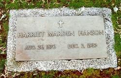 Harriet <I>Marden</I> Hanson