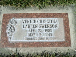 Venice Christina <I>Larsen</I> Swenson