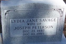 Lydia Jane <I>Savage</I> Peterson