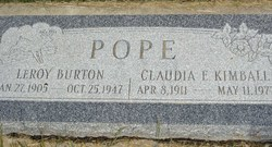Claudia Elizabeth <I>Kimball</I> Pope