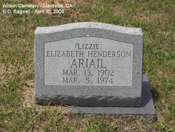 "Elizabeth ""Lizzie"" <I>Henderson</I> Ariail"
