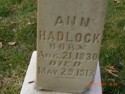 Ann <I>Hinchcliff</I> Hadlock