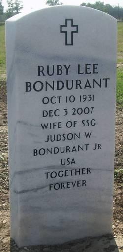 Ruby Lee <I>O'Neal</I> Bondurant