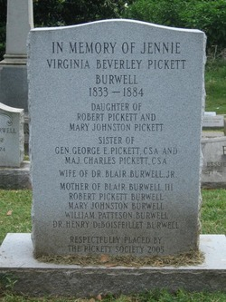 "Mrs Virginia Beverley ""Jenny"" <I>Pickett</I> Burwell"